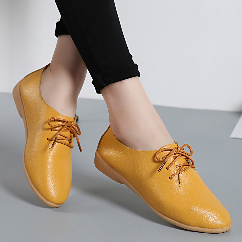 Fashion Genuine Leather Women Flats Lace Up Pointed Toe Loafers Casual Shoes Ballerina Size 35-44