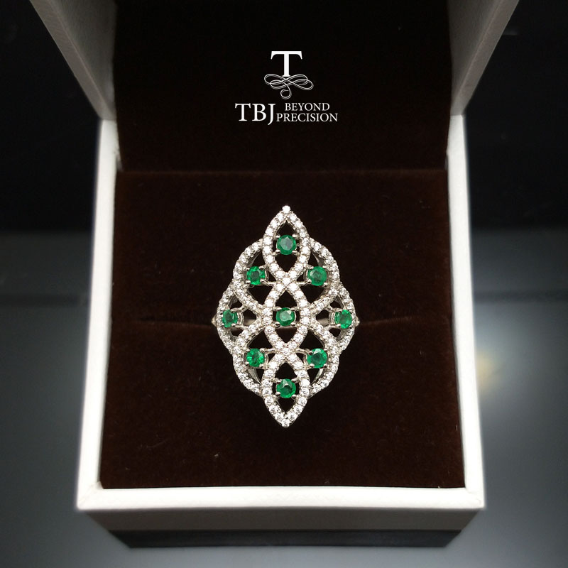 TBJ fashion and elegant ring with 100 natural emerald gemstone in 925 sterling silver new design