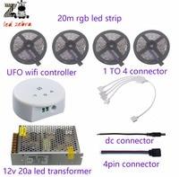 Highlight 5m 10m 15m 20m 60led M 5050smd Rgb Led Strip Ufo Wifi Controller Led Power