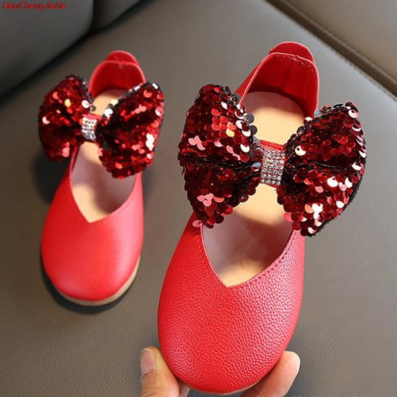 New Spring/Autumn Children Shoes Girls Baby Patent Leather Shoes Princess Fashion Bowknot Kids Breathable Single Shoes Flats