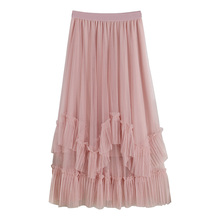 Spring Fashion Tulle Skirt High Waist Slim Pleated TUTU Skirts Womens Double Layers Patchwork Midi Skirt Jupe Saias Faldas недорого