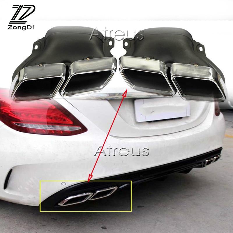 ZD 2 Pcs Pour Mercedes BENZ W205 C63 2012 2013 2014 2015 AMG Chrome 304 En Acier Inoxydable De Voiture Tuyau D'échappement Silencieux Conseils Accessoires