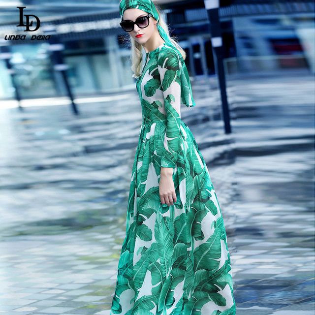 Fashion 2016 Runway Maxi Dress Autumn New Women's High Quality Long Sleeve Print Banana leaf Gerrn Casual Long Dress