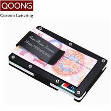 купить QOONG RFID Blocking Slim Metal Credit Card Holder Travel Mini Wallet Men Women Cardholder Porte Carte Male Card Case KH1-016 дешево