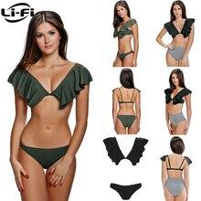 Купить с кэшбэком LI-FI Fluffy Frill Swimsuit 2019 Bikinis Women Swimwear Sexy Briefs Push Up Bikini Set Summer Vacation Beachwear Ruffle Bikinis