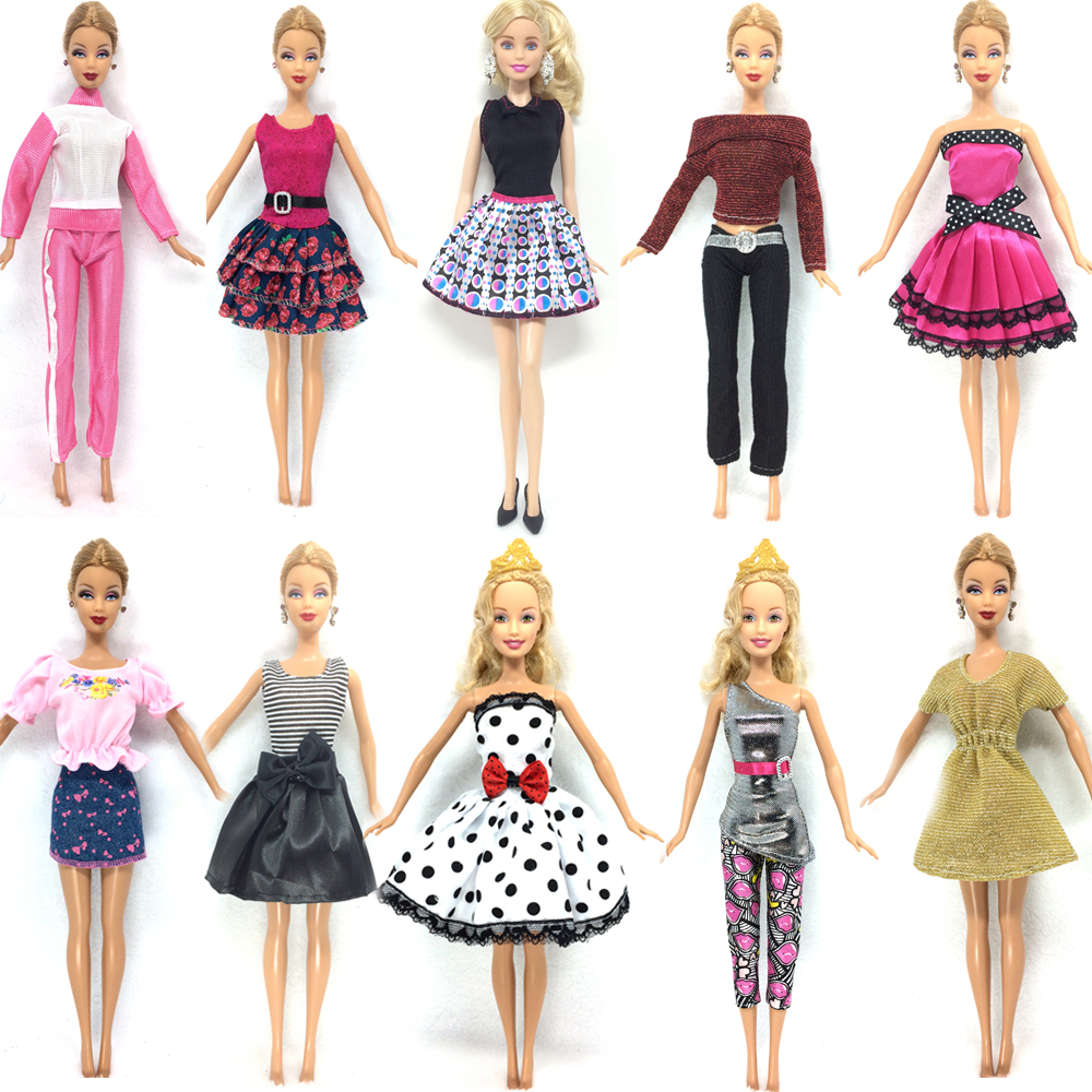 NK 10 Set/Lot  Newest Doll Dress Beautiful Handmade Party ClothesTop Fashion Dress For Barbie Noble Doll Best Child Girls'Gift 26 item pcs 10 pcs beautiful party barbie clothes fashion dress 6 plastic necklace 10 pair shoes for barbie doll accessories