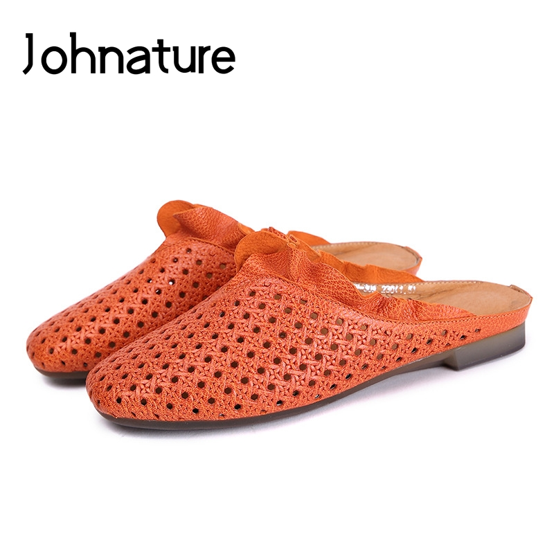 Johnature Genuine Leather Slippers Retro Casual Summer Outside Turned over Edge Slides Flat With Solid Sandals