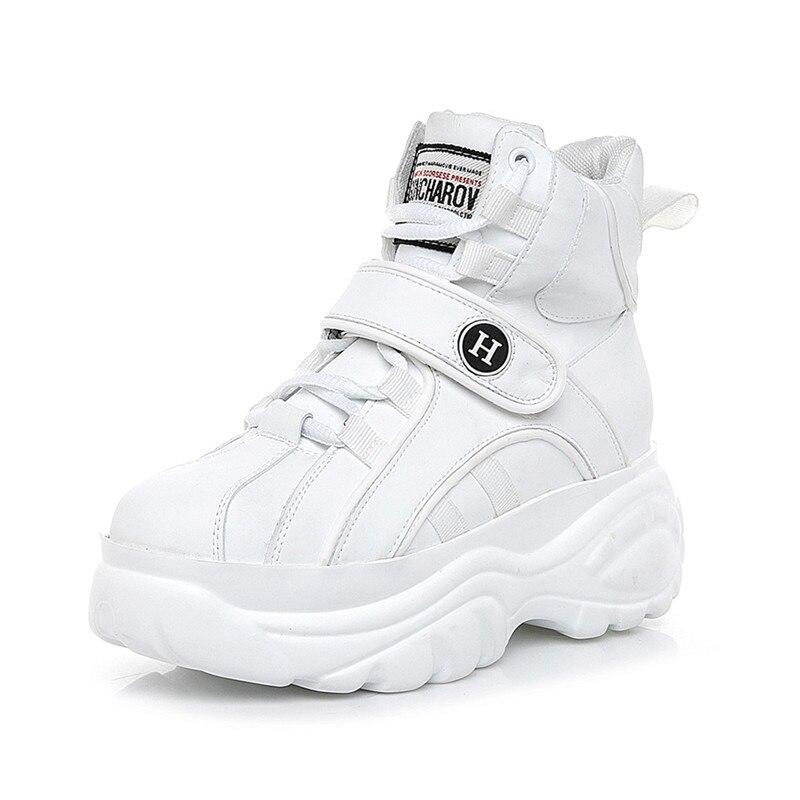 SWYIVY femme baskets haut blanc 2018 hiver automne femme chaussures décontractées chaudes plate-forme baskets chaussures femme crochet boucle - 6