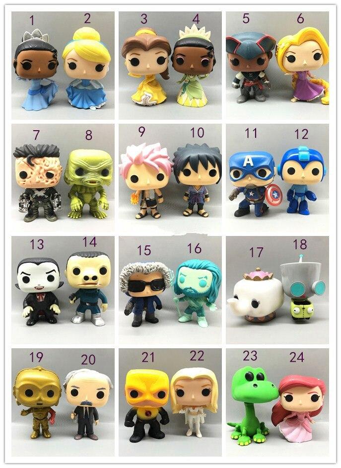 Funko Pop Princess: Ariel, Belle, Cinderella, Rapunzel, Tiana, Aquaman, Pott, Flash, Vampire Figures Collectible Model Toys Hot