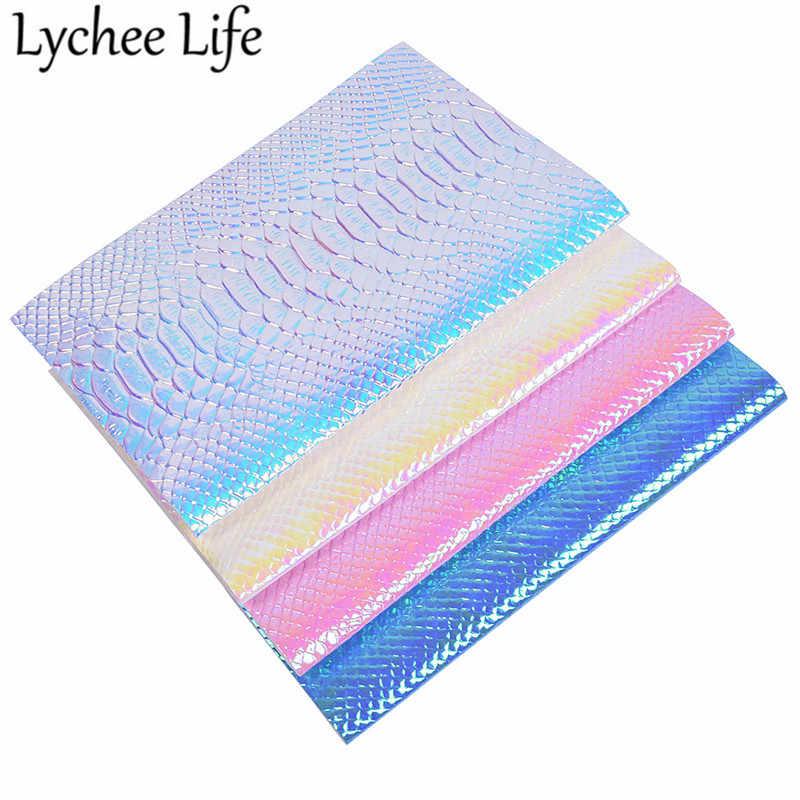 Lychee life kolorowe łuska krokodyla materiał ze skóry opalizujący PU 29x21cm tkaniny DIY Handmade szycia akcesoria odzieżowe dostaw
