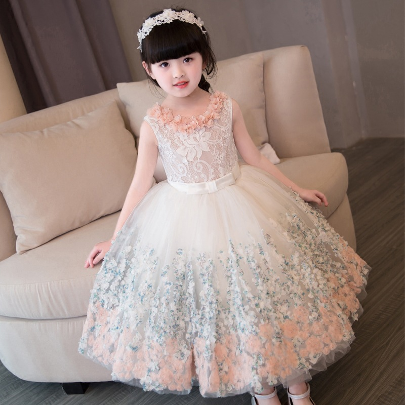 все цены на 2-12 Years Flower Girl Dress Lace Ball Gown Kids Pageant Dress for Birthday Party Gowns Sleeveless Floral Princess Dress K26