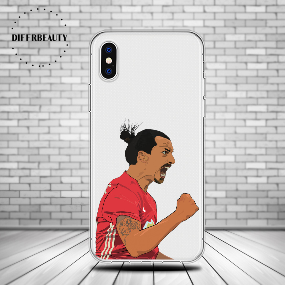 DIFFRBEAUTY Sof Silicone Soccer Phone Cases Back Cover For iphone 6 6S 7 8Plus SE X Coque Football Star Zlatan Ibrahimovic pogba