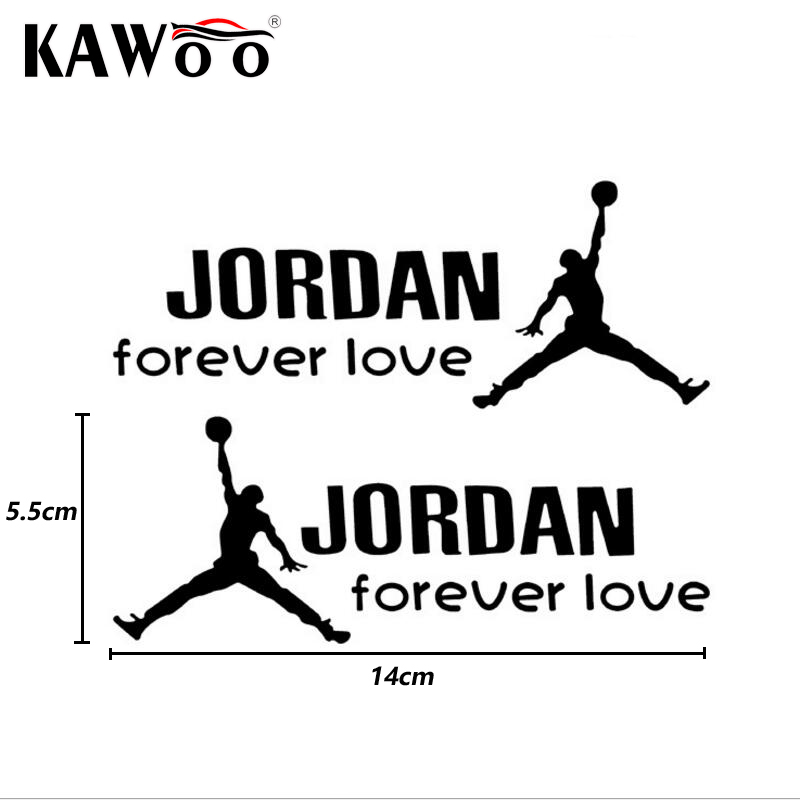 KAWOO 1Pair Forever Basketball Player Michael Jordan Car Stickers High Quality Car Accessories Personality Decals Styling