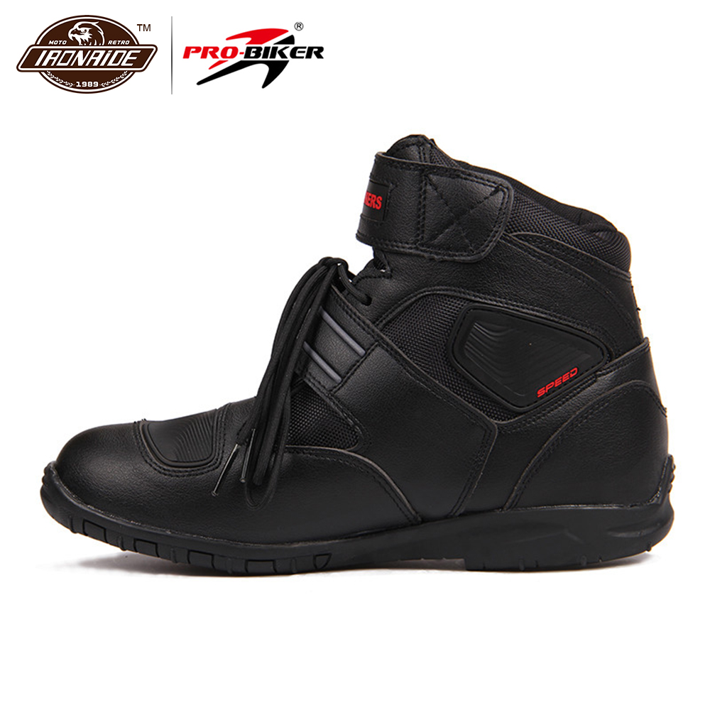 Sports Motorcycle Boots Riding Tribe SPEED BIKERS Comfortably Moto Racing Boots Motocross Motorbike Shoes A005 Black/White/Red riding tribe moto racing pu leather motorcycle boots moto racing motocross off road mid calf motorbike shoes black white red