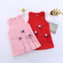 2019 Girls Dress Flower Wool Princess Dress Red Pink Sleeveless Vest Dress Autumn Winter Kids Dresses For Girls Children Clothes