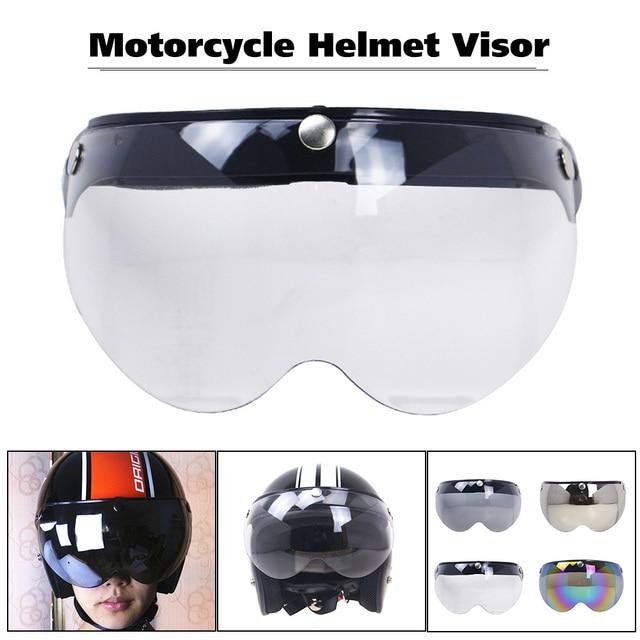 a70c9808 Universal Windproof 3-Snap Motorcycle Helmet Visor Front Flip Up Visor Wind  Shield Lens For Motorcycle Helmet Sunglasses