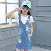 Girls Clothing Sets White T Shirts Overalls 2Pcs Summer Kids Outfits 2017 Brand Denim Dresses For
