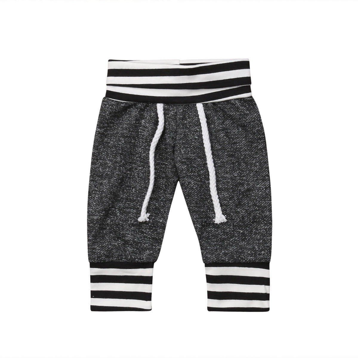 Cute Newborn Baby Boy Girl Pant Plain Long Pants Kids Grey Elastic Waist Pants Toddler Kids Striped Bottom Trouser Clothes men elastic waist drawstring striped pants
