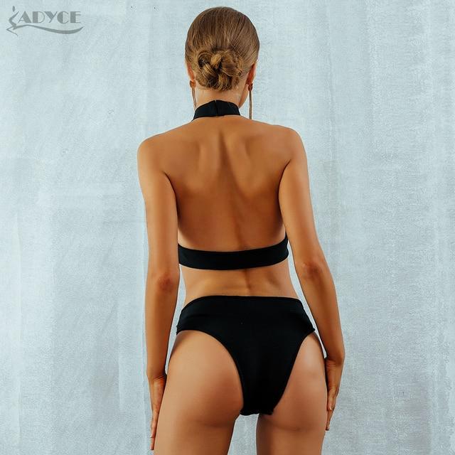 Bandage Bodysuits Celebrity Black Diamond Beading Sexy Backless Halter Hollow Out Swimsuits Bodycon Bikini 5
