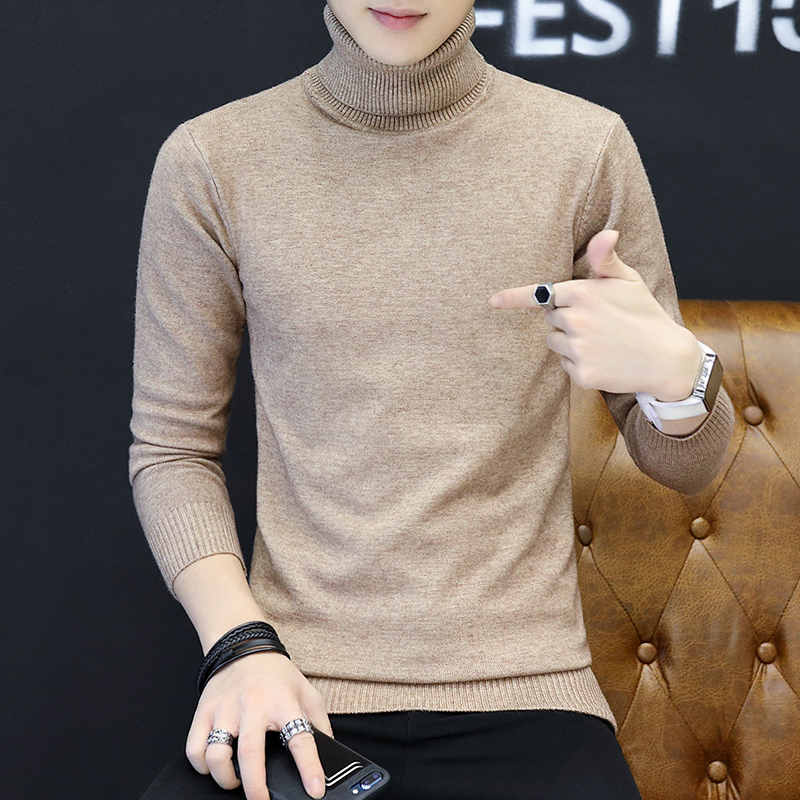 LEFT ROM 2019 Men Turtleneck Sweater Autumn Winter Solid Color Casual Sweater Men's Slim Fit Knitted Pullovers Bottoming Jumper 1