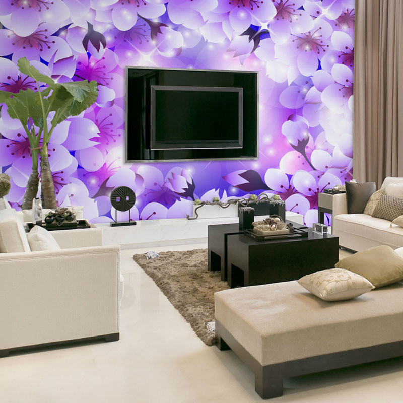 Beibehang Wall Panels Purple White Floral Flowers Papel De Parede 3d  Wallpaper For Living Room Bedroom Decor Murals Wall Paper In Wallpapers  From Home ...