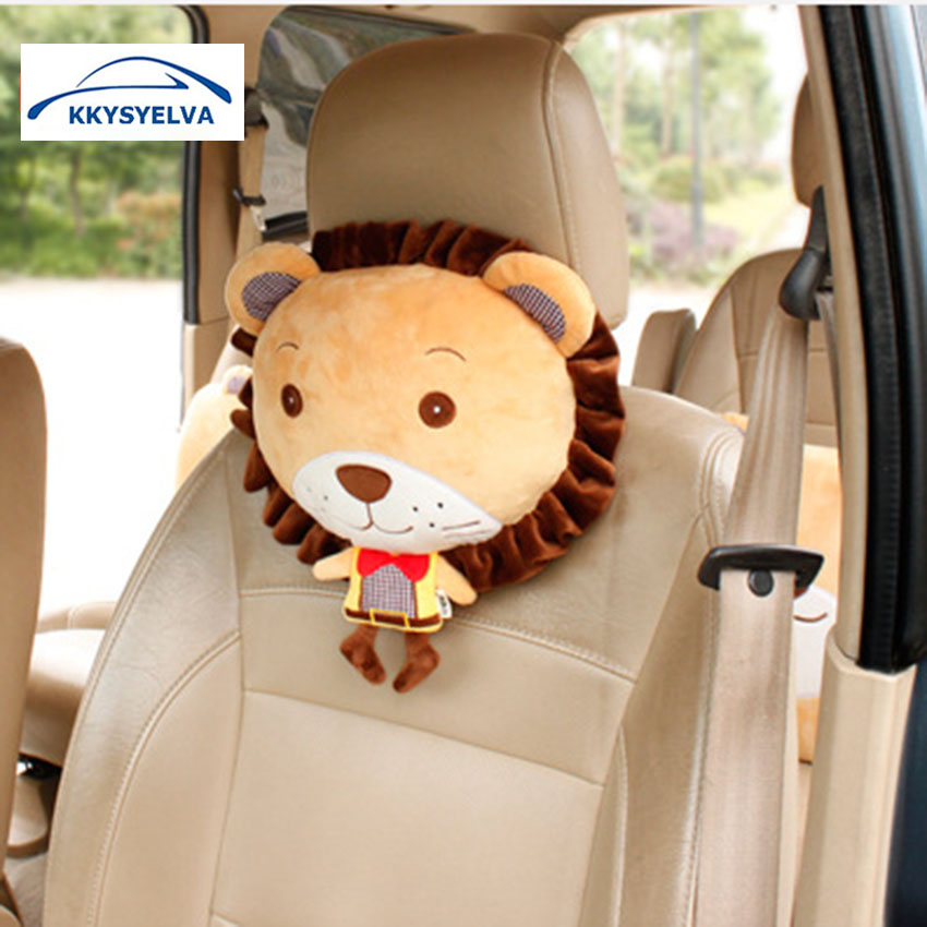 KKYSYELVA Car Headrest Neck Pillow Cute Car Pillows Seat Support Animal pillow Lion pillow for kids Interior Accessories in Neck Pillow from Automobiles Motorcycles