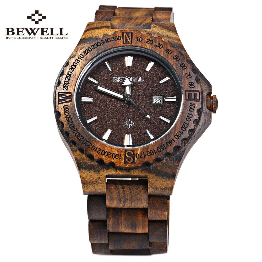2017 Hot sell Men Dress Watch BEWELL Men Wooden Quartz Watch with Calendar Display Bangle Natural Wood Watches Relogio bewell natural wood watch men quartz watches dual time zone wooden wristwatch rectangle dial relogio led digital watch box 021c