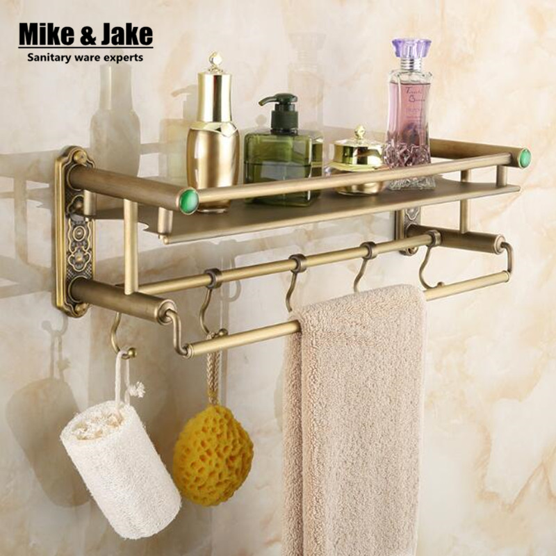 Bathroom Antique Brass Bathroom Shelf With Green Stone Towel Holder Bathroom Shelf With Hooks