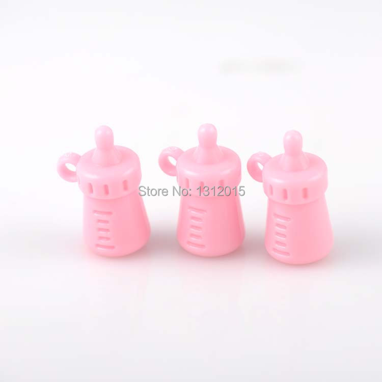 Free Shipping! Diy 10PCs Lucky Pink Acrylic Feeding bottle Shape baby Charm Pendants beads Fit baby jewelry gift 33x22mm