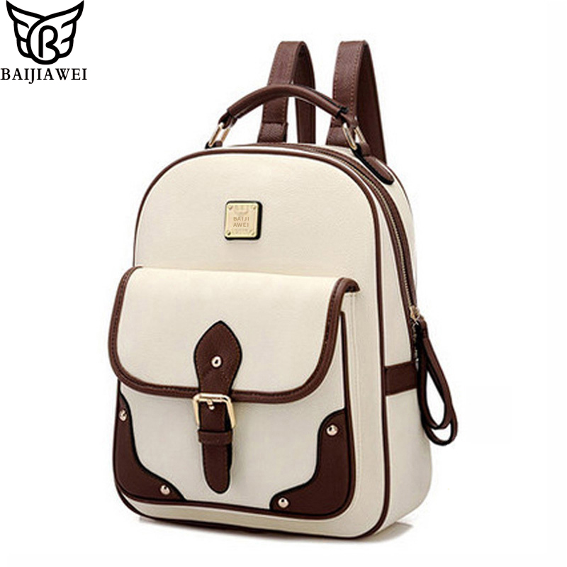 BAIJIAWEI 2017 New PU Leather Women Backpack Casual School Bags For Teenagers Girls Travel BackPacks High Quality Shoulders Bag dizhige brand women backpack high quality pu leather school bags for teenagers girls backpacks women 2018 new female back pack