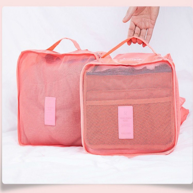 Nylon Packing Cube Travel Bag System Durable 6 Pieces Set Large Capacity Of Unisex Clothing Luggage Sorting Storage Organize Bag