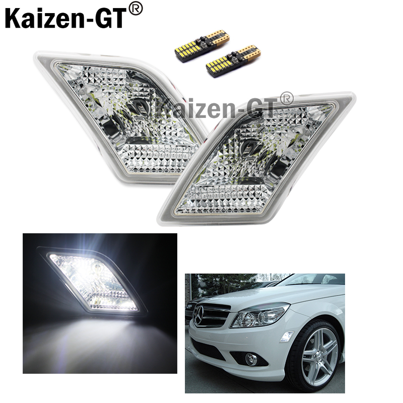 (2) Euro Clear Lens white LED Side Marker Lights Fit 2008-2011 Mercedes Benz W204 C250 C300 C350 & 2008-2013 C63 AMG 2 x t10 led w5w canbus car side parking light bulbs with projector lens for mercedes benz c250 c300 e350 e550 ml550 r320 r350