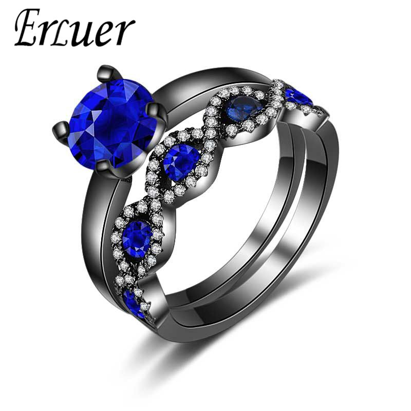 ERLUER Vintage Fashion Black gold Color blue CZ Crystal Engagement Rings For Women men J ...