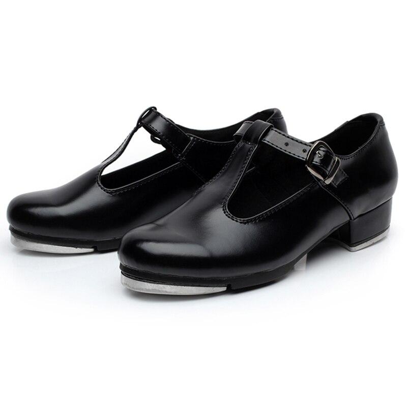 Women's Tap Dance Shoes PU Low Heel Ballet Dancing Shoes for Women Buckle Ballroom Dance Sneakers for Girls Plus Size 36-42