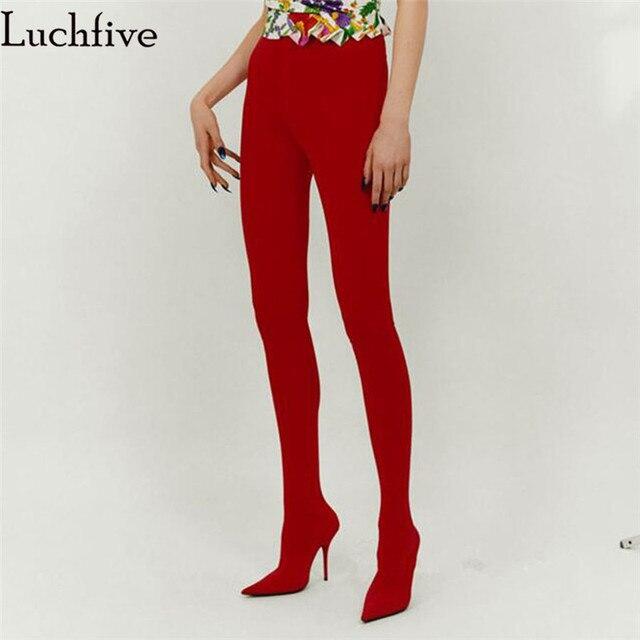 Luchfive Runway stijl bootcuts grote size dij hoge laarzen stiletto hoge hakken Elastische lange broek laarzen taille schoenen vrouwen