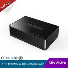 Mini conmutador de red Ethernet rápida de 5 puertos, 10/100Mbps, LAN, rj45, concentrador lan, internet, pequeño e inteligente, Plug and Play