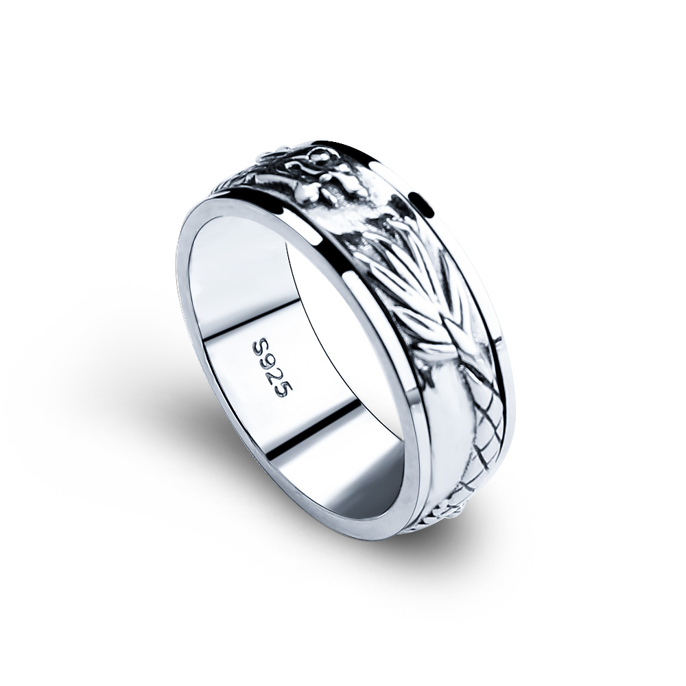 Image 2 - Gagafeel New 100% Real Pure 925 Sterling Silver Dragon Rotatable ring Thai Silver Fine Jewelry free shipping LHYR17-in Rings from Jewelry & Accessories
