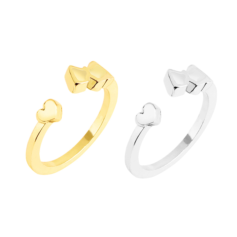 Simple Slim Silver Gold Heart Ring Minimal Delicate Open