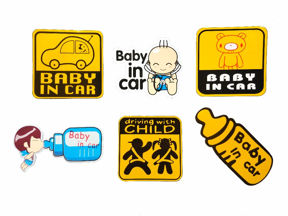 12 models BABY IN CAR BABY ON ROAD Cartoon reflective car sticker Car styling Accessories warning decal sticker waterproof quality cartoon car pattern removeable waterproof 3d wall sticker