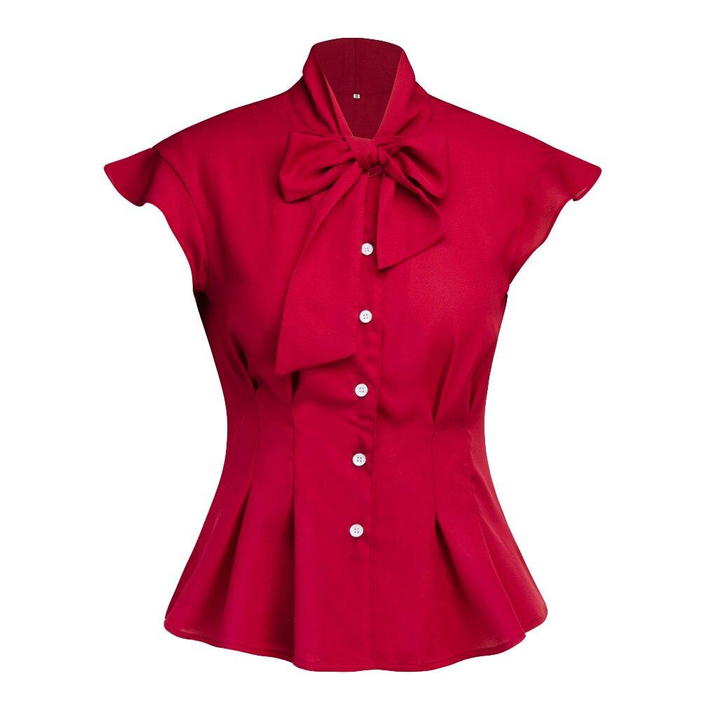 Womens Casual Solid Bow Korte Mouw Button Tops Blouse Tuniek Shirts Blusas Mujer De Moda 2019 #40 De Laatste Mode
