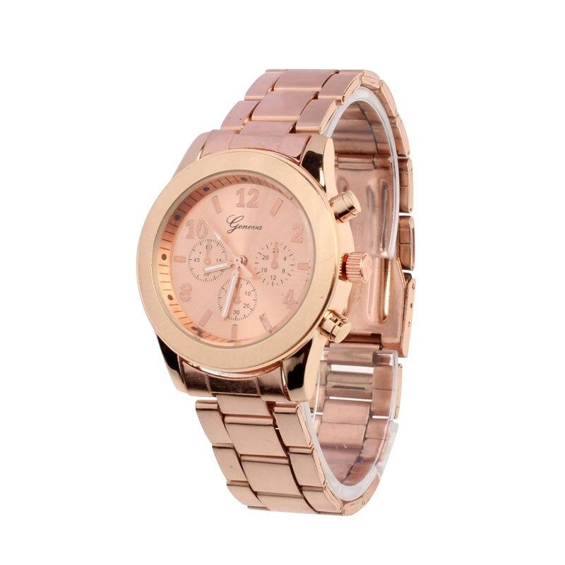New Rose Gold Gold Geneva Casual Watch Wristwatch Ladies Women Girl Unisex Stainless Steel Quartz Wrist Watch Montre Femme  Наручные часы