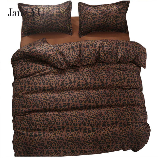 Janeyu 2018 Bedding Set Super King Size Duvet Cover Leopard 3 4pcs Bed