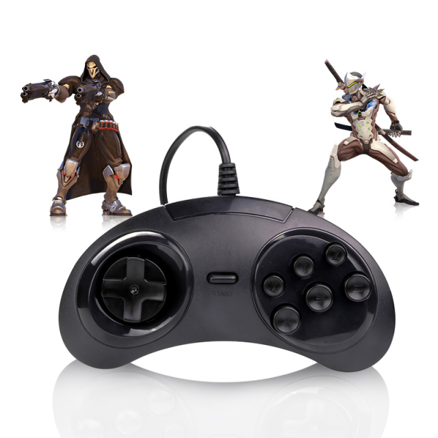 Overlfy USB Gamepad Game Controller 6 Buttons SEGA USB Gaming Joystick Holder for PC MAC Mega Drive Gamepads For SEGA Genesis