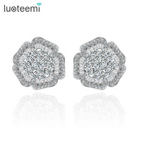 Teemi Tiny Flower Cut AAA CZ Wedding Stud Earrings Wholesale Pure White Gold Plated Korean Style