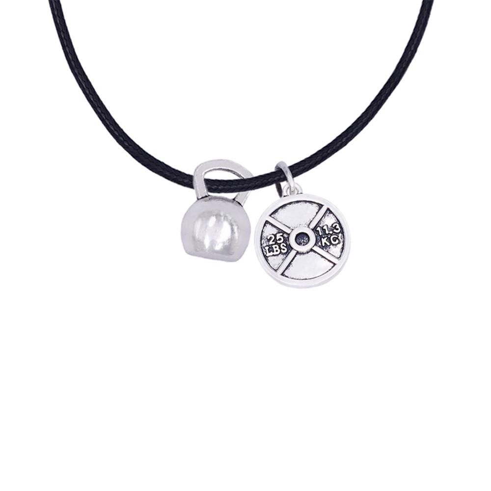 10 Teile/los Legierung Antikes Silber Ton Gym Sport Kettlebells Gewicht Platte Fitness Charme Seil Kette Halskette