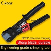 CNCOB Network Crimper Tools for Cat6 Plugs Connectors Cables RJ45/RJ11 Crimping Tools Professional Phone Line 8P8C Network Tools