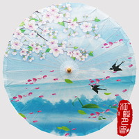 Pure Blue Color Bottom with Birds Oil Paper Umbrella Peach Flower Blossom Paper Parasol Wedding Show Decor Paper Umbrella