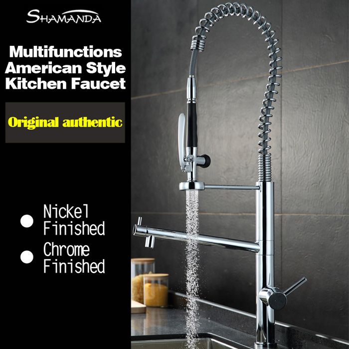 Free Shipping Various Style Solid Brass Chrome Finished Pull Out & Down Spring Sink Kitchen Faucet 2 Functions Mixer Tap Faucet