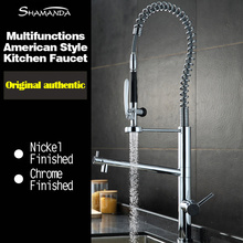 лучшая цена Free Shipping Various Style Solid Brass Chrome Finished Pull Out & Down Spring Sink Kitchen Faucet 2 Functions Mixer Tap Faucet