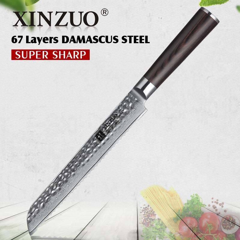 """Ev ve Bahçe'ten Mutfak Bıçakları'de XINZUO 8 """"inç Ekmek Bıçağı 67 katmanlar Şam Paslanmaz Çelik Stria Çekiç Mutfak Bıçağı VG10 kek bıçağı Pakka Ahşap kolu'da  Grup 1"""